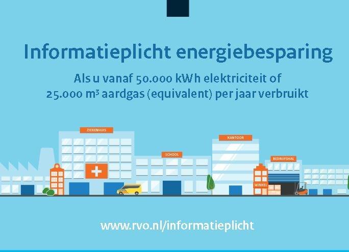 Jaarverbruik van 50.000 kWh elektriciteit of 25.000 m3? Informatieplicht voor u als ondernemer!